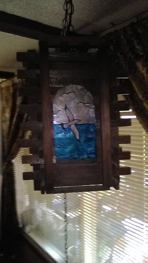 Vintage wood & stain glass hang lamp for Sale in Bainbridge Island, WA