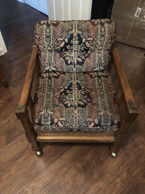 Old Upholstered Rolling Chair Real Wood Good Shape for Sale in Murfreesboro, TN