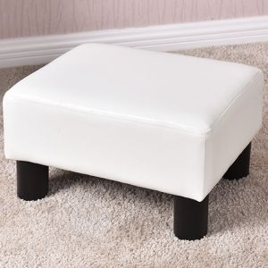 Small Ottoman Footrest PU Leather Footstool Rectangular Seat Stool White for Sale in Bakersfield, CA