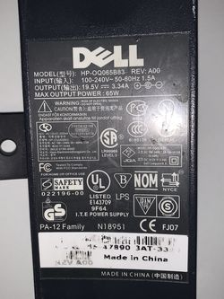 POWER SUPPLY DELL 65W- AC ADAPTER MODEL HP-OQ065B83 for Sale in Brooklyn,  NY