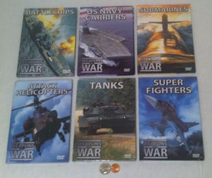 New 6 DVDs, Weapons of War, Submarines, Carriers, Battleships, Planes, Tanks, Helicopters. All of them have the plastic on them, except one for Sale in Lakeside, CA