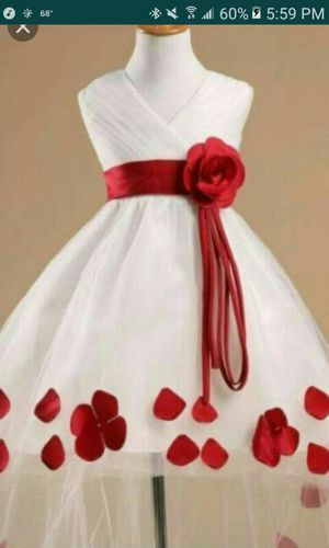 Red and white flower girl dress size 4 for Sale in Nashville, TN