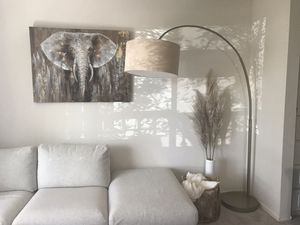 Beautiful West Elm overarching linen shade floor lamp in excellent condition for Sale in San Jose, CA