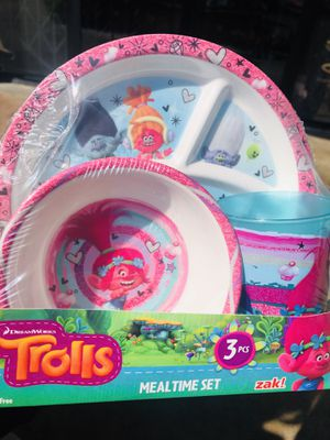 Trolls Mealtime set 3 pcs zak! Kids for Sale in Downey, CA