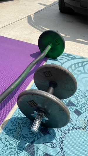 90 lbs in plates, Curl Bar, and Barbell CAP for Sale in Del Valle, TX