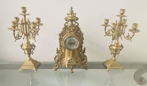 Solid Brass Baroque Mantel Clock and Candelabra for Sale in Sun City, AZ
