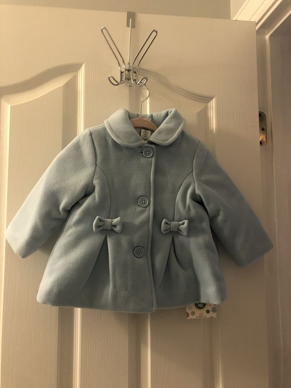 Blue baby girl coat and outfit set