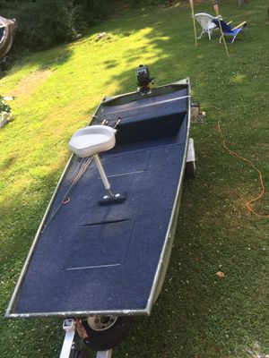 14' Jon Boat 2012 Yamaha 9.9 starts first pull, like New!! Plus trailer for Sale in Haverhill, MA