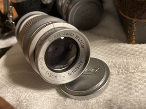 Ernst Leitz Wetzlar Leica Elmar 9cm f/4 Screw Mount Lens w front and rear cap for Sale in Whittier, CA