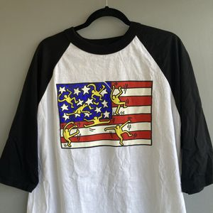 Vintage later y2k era Keith Haring art raglan tee for Sale in Rancho Santa Fe, CA