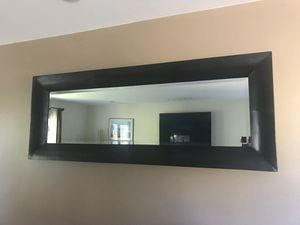 Wall Mirror Beveled Glass Chocolate Leather Frame for Sale in Los Angeles, CA
