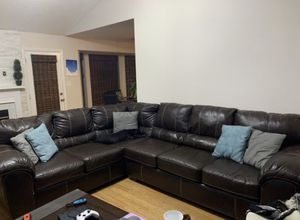 Chocolate Brown 2 Piece Sectional Faux Leather Couch for Sale in Charlotte, NC