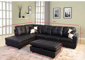 Black 3 PC Sectional Sofa Set, Left Facing Chaise with Storage Ottoman for Sale in NV, US