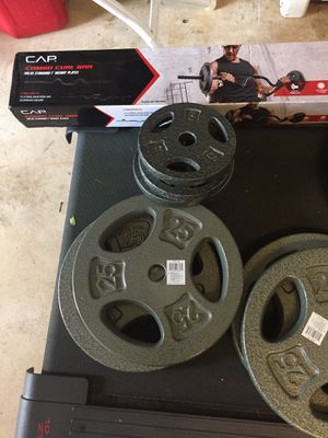 CURL BAR new never used with pair of 25 Lbs weights plates for Sale in Manassas, VA