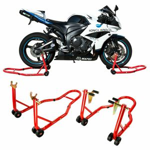 New in box black or red color front and spool lift rear motorcycle sports bike repair maintenance jack stand rack for Sale in South El Monte, CA