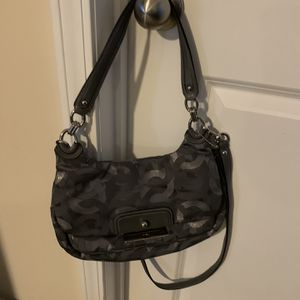 Authentic Coach Small Silver Logo Cloth shoulder/cross body bag in euc with clasp closure for Sale in Lexington, SC