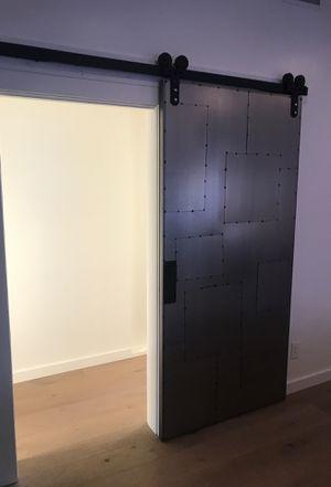 Salvaged Scrap Metal Door + Strap Barn Door Hardware+ Front Handle for Sale in Santa Ana, CA