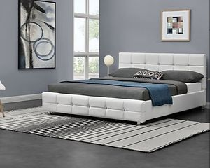 New queen upholstered bed frame, mattress sold separately for Sale in Palm Springs, FL