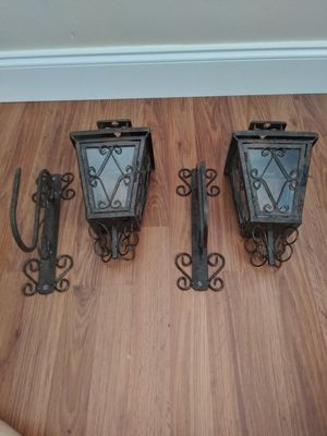Wrought iron and glass wall candle holders for Sale in Tarpon Springs, FL