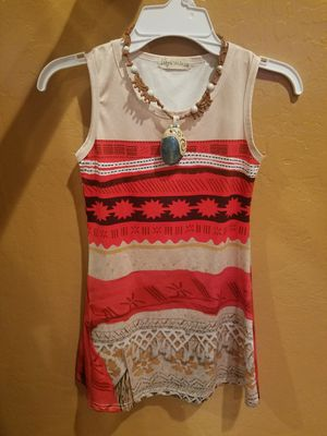 Moana Girls Costume Dress + Necklace Size 4 for Sale in San Jose, CA