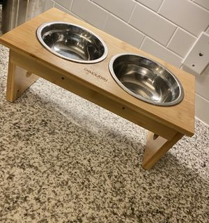 FEANDREA Raised Pet Stand with Bowls- height adjustable, bamboo for Sale in St. Petersburg, FL