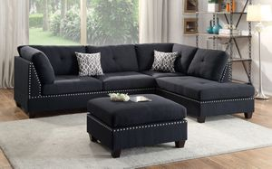 New black fabric studded sectional sofa couch with ottoman (Baines) for Sale in Miami, FL