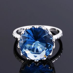 Top Quality Created Blue Sapphire Rings For Women Silver 925 Sterling Jewelry Ring Wedding Engagement Party Gift Size 6 7 8 9 10 for Sale in Salem, OR