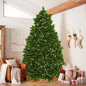 Brand New Noble Fir 7.5 Feet Christmas Tree with Clear Pre-Lit Candlelight LED and Remote Control For Multi Color Light Changing Options for Sale in San Francisco, CA