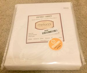 Mellanni Fitted Sheet King White Brushed Microfiber Bedding Top Sheet - Wrinkle, Fade, Stain Resistant - Hypoallergenic for Sale in Speedway, IN