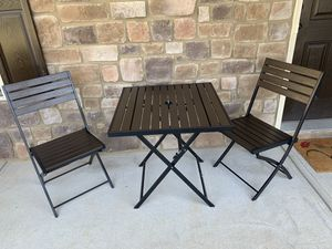 Outdoor Patio Bistro Set 3 Piece Composite Wood Dining Furniture Chairs Table for Sale in Dallas, GA