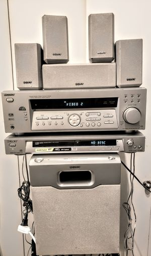 Sony receiver dvd player 6 speakers surround sound amplified bass stereo entertainment system for Sale in Tempe, AZ