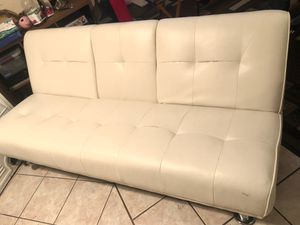 White leather futon couch for Sale in Fontana, CA