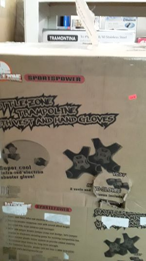 Battle zone sports power trampoline with laser tag vests and laser gloves for Sale in Port Richey, FL