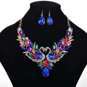 Women Luxury Jewelry Choker Diamond Swans Pendants Necklace Earrings Set for Sale in Harrisburg, PA