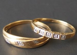 Two 18k solid gold rings with some diamonds. for Sale in Peabody, MA