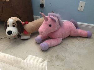 Unicorn and dog stuffed animals for Sale in Tampa, FL