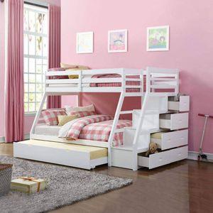 WHITE FINISH TWIN OVER FULL SIZE BUNK BED TRUNDLE STAIRCASE CHEST STORAGE / CAMA LITERA BLANCA CAJONERA ESCALERAS BLANCO for Sale in Glendora, CA