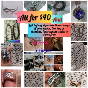 Jewelry Sale - All 14 peices for $40 & a Sterling or stainless spoon ring of your choice for Sale in Waynesboro, MS