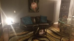 black leather sofa w/ pillows for Sale in Largo, FL