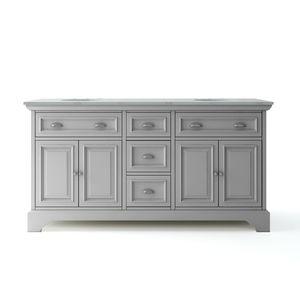 H.D.C. Sadie 67 in. W x 21.5 in. D Vanity in Dove Grey with Marble Vanity Top for Sale in Dallas, TX