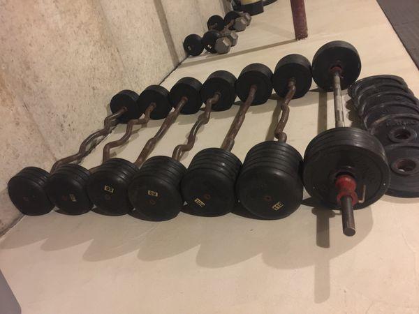 Ivanoko Fixed curl bar weights bumper plated