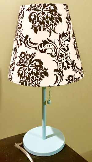 Mini lamp light blue with white satin and black velvet lamp shade for Sale in Fresno, CA