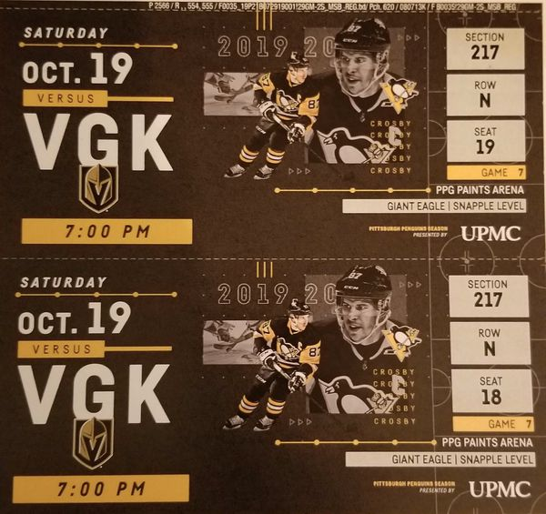 Pens vs Golden Knights - 10/19 - Pair (Section 217 Row N Seats 18&19)