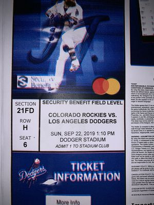 Dodger tickets!! Free parking for Sale in Chino, CA
