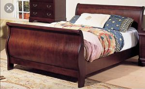 Queen Cherry Sleigh Bed Frame for Sale in Carlsbad, CA
