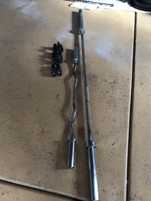 OLYMPIC BAR AND CURL BAR WITH COLLARS (ALL YORK BRAND) - $200 (Burbank) for Sale in Oak Lawn, IL