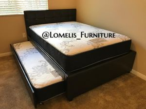 Full/twin expresso trundle bed w. Orthopedic mattresses included for Sale in Claremont, CA