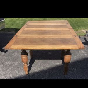 Dining Table Solid Oak, From 1800s With Leaf Extensions for Sale in Providence, RI