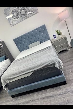 New Baby Blue Slate Velvet Bed Frame : Full / Queen / King : Mattress Set Sold Separately : Box Spring Required for Sale in Concord, CA