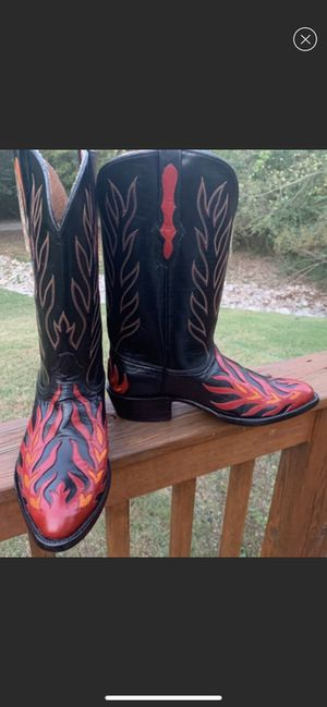 Black Jack leather hand tooled flame cowboy boots. 10 1/2 EE. for Sale in Mt. Juliet, TN
